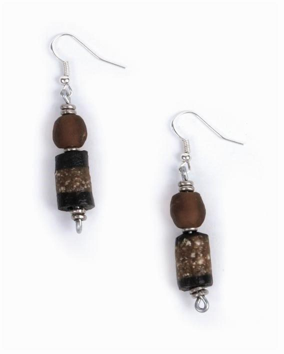 Earrings of recycled glass, grey