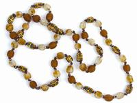 Necklace of brown glass beads