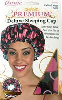 Premium Deluxe Sleeping Cap, hearts, black